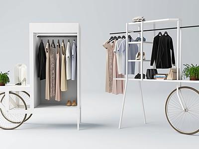 現代推車移動衣柜模型3d模型