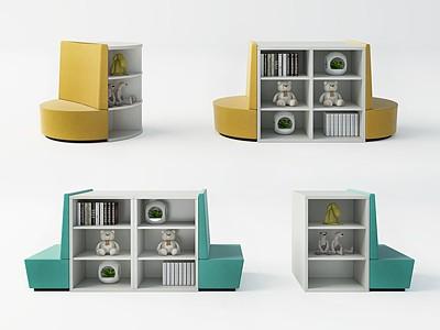 現代書柜卡座模型3d模型