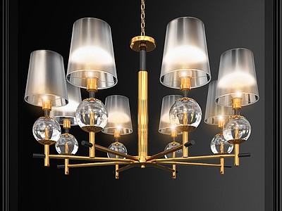 美國Crystal玻璃吊燈模型3d模型