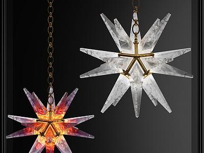 現代海星星星藝術吊燈模型3d模型