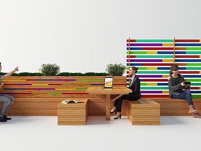 現代室外休閑桌椅模型3d模型
