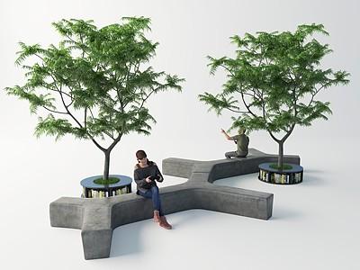 現代室外水泥長凳模型3d模型