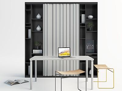 現代書柜書桌模型3d模型