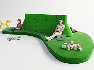 現代兒童游樂區模型3d模型