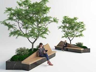 現代室外長椅模型3d模型
