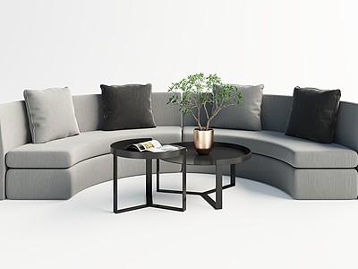現代圓弧多人沙發模型3d模型