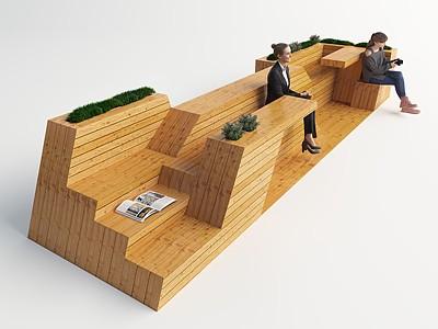 現代戶外休息區模型3d模型