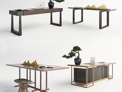 新中式書桌模型3d模型