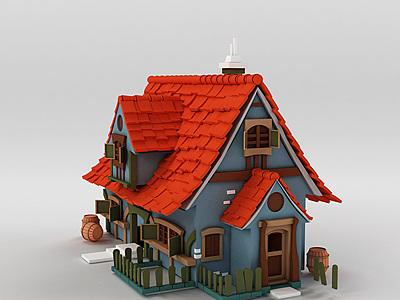 3d游戲場景Q版小房子模型