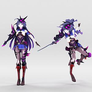 3d崩壞3人物雷電女王的鬼鎧模型