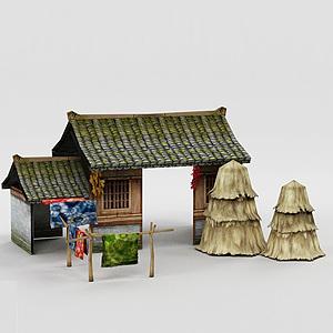 3d古代茅草屋模型
