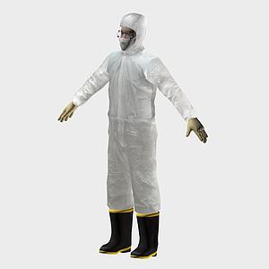 穿防化服科研人員模型