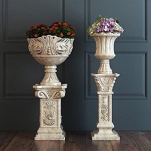 歐式雕花花盆模型