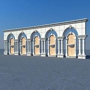 歐式建筑景觀墻模型