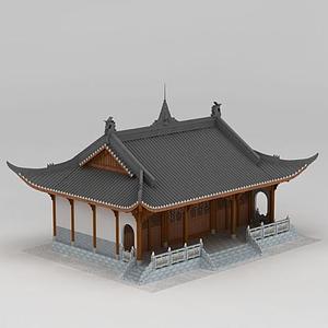 3d中国古代寺庙模型