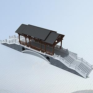 中式廊桥模型