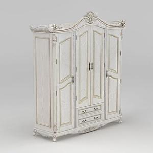 白色歐式衣柜模型