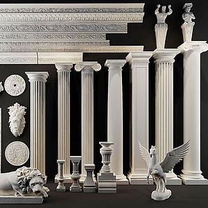 3d欧式罗马柱模型