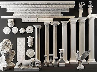 歐式羅馬柱模型3d模型