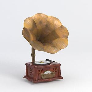 老式破舊唱片機模型