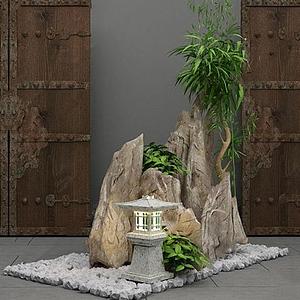园艺小品庭院阳台假山植物
