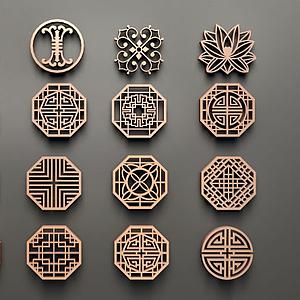 中式圓形鏤花組合模型