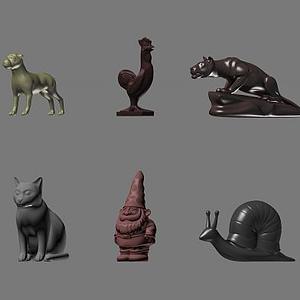 3d现代石膏小动物装饰物模型