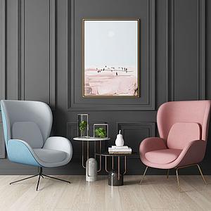 3d現代單人休閑沙發椅模型