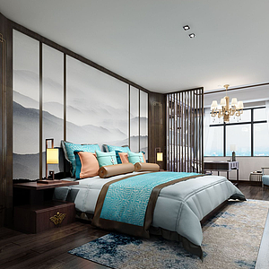 3d中式標志型臥室模型