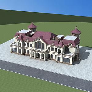 3d歐式建筑綜合樓模型