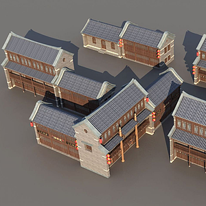 3d古城<font class='myIsRed'>古建筑</font>排房模型
