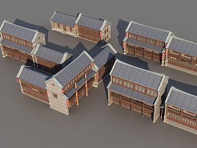 3d古城古建筑排房模型