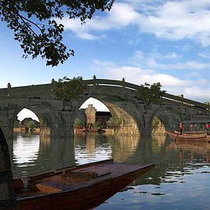 3d公园<font class='myIsRed'>古建筑</font>房子桥船模型