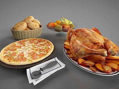 食物烤雞披薩面包模型3d模型