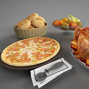 食物烤雞披薩面包模型