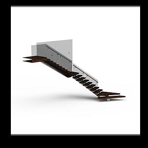 現代實木轉角樓梯模型