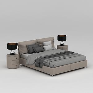 现代床模型
