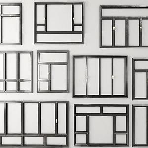 現代建筑鋁合金窗戶組合模型