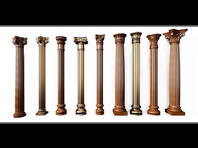 歐式羅馬柱組合模型模型3d模型