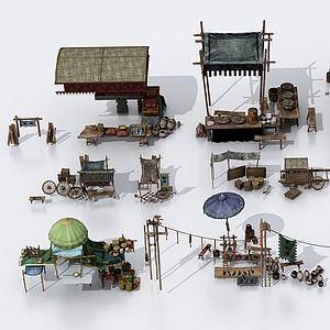 3d中式古建售杂货摊位模型