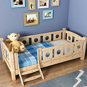3d現代實木<font class='myIsRed'>兒童床</font>掛畫組合模型