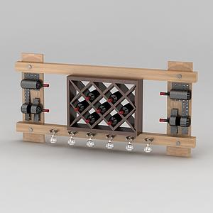 现代实木酒柜酒架模型
