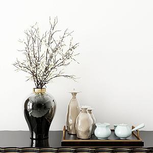 3d新中式<font class='myIsRed'>花瓶</font>花卉茶具模型