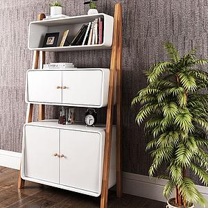 3d北欧书柜装饰柜模型
