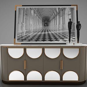 現代簡約邊柜裝飾柜模型