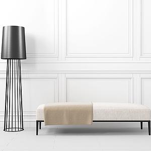 現代簡約沙發凳落地臺燈模型