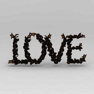 3d玫瑰love雕花裝飾品模型