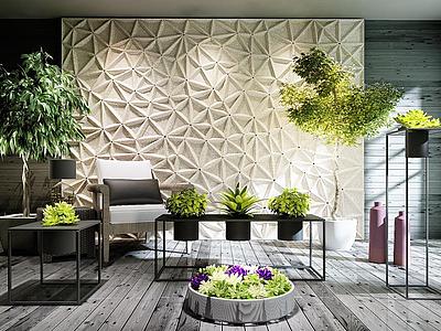 3d庭院盆栽戶外休閑椅組合模型