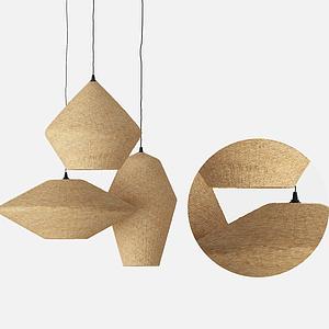 現代原木色吊燈模型
