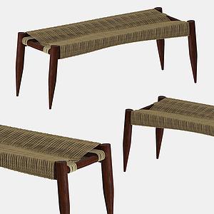現代藤編長凳模型